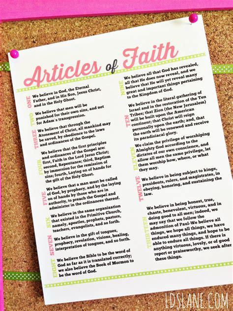 printable articles of faith articles of faith free printable