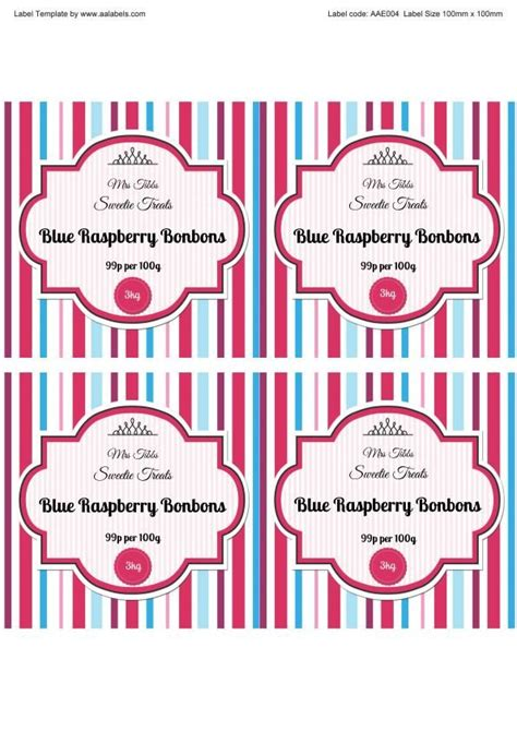Raspberry Bonbons Sweet Jar Labels Template Image Jar Labels Pinterest Sweet Jars Jar Peanut Butter Label Template
