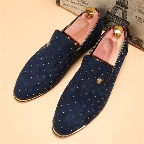 Sepatu Louis Vuitton Casual Navy new 2017 silver gold spike velvet loafers luxury brand