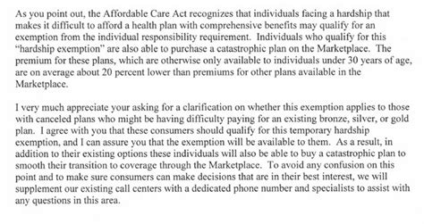 how to write a hardship letter excerpt from sebelius letter to senators 1311