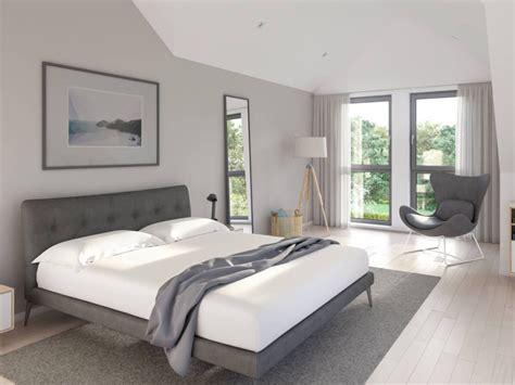 inneneinrichtung schlafzimmer schlafzimmer modern grau weiss mit erker dachschr 228 ge