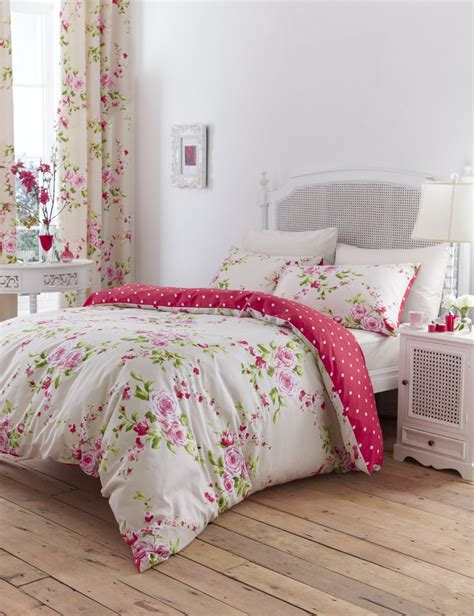 shabby chic pink and cream floral bedding set the shabby