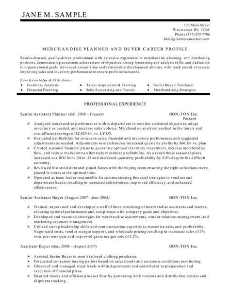resume templates for a buyer merchandise planner and buyer resume