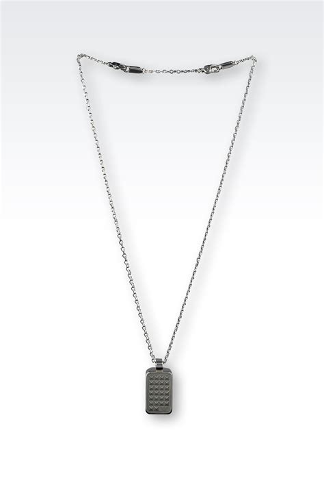 emporio armani necklace in metallic for lyst