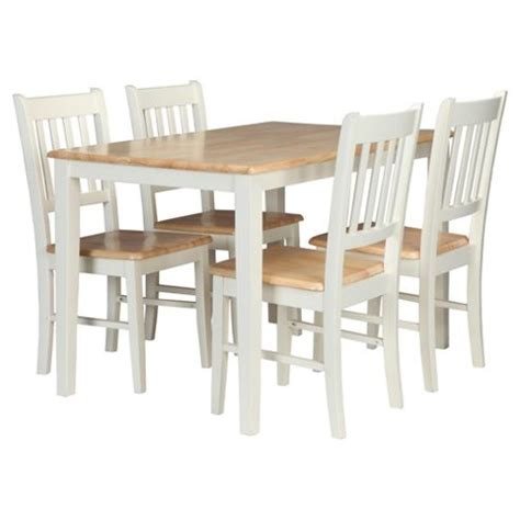 buy essen rubberwood dining table 4 chairs white