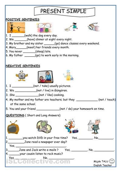 Simple Present Tense Worksheets by Present Simple For Worksheets Printable Activities