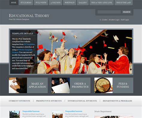 website layout theory 22 free education html website templates templatemag