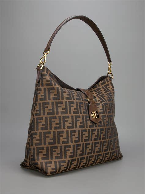 Fendi Brown Tweed Handbag by Lyst Fendi Classic Hobo Logo Bag In Brown