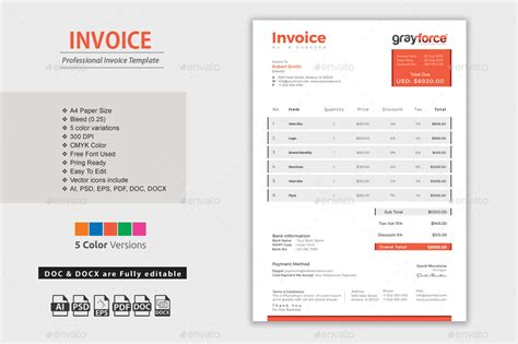 invoice template illustrator invoice excel by themedevisers graphicriver