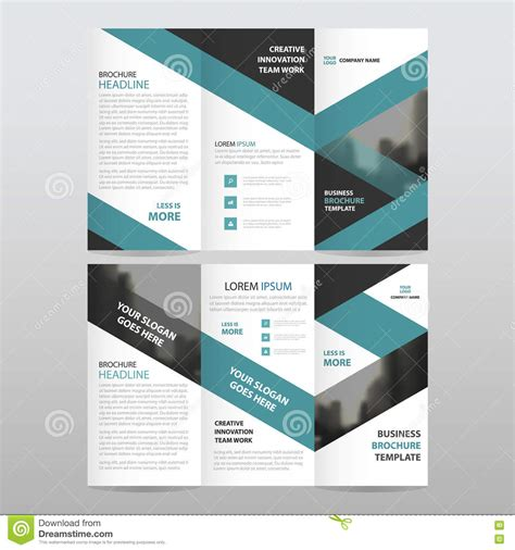 brochure flat design blue black triangle business trifold leaflet brochure