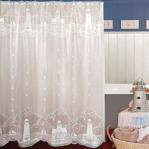 lace curtains bed bath and beyond heritage lace 174 lighthouse shower curtain bed bath beyond