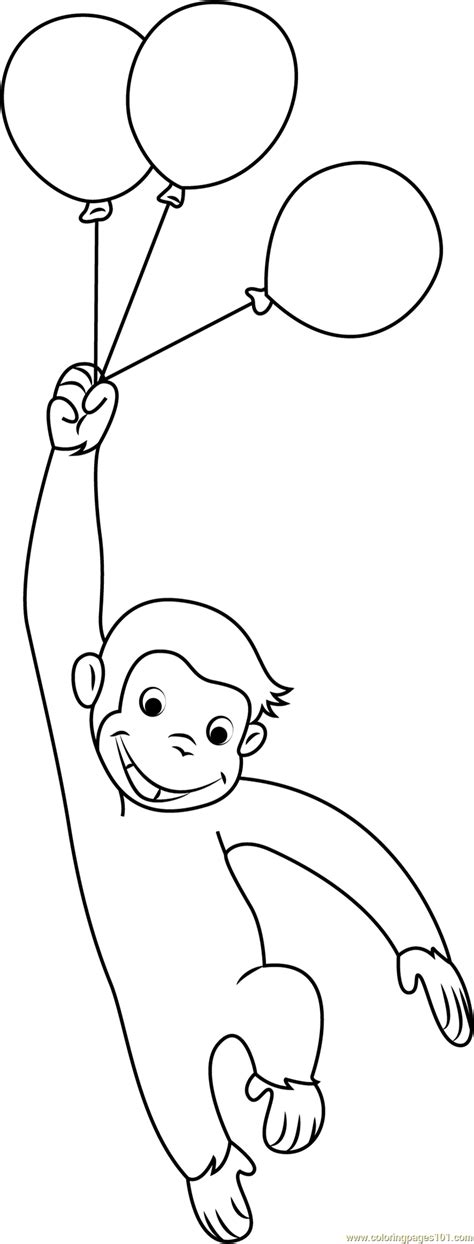 Curious George With Balloons Coloring Page Free Curious Curious George Coloring Page