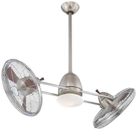 ceiling fan with two fans minka aire gyro ceiling fan f602 bnch in brushed nickel