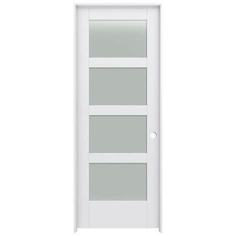24 Interior Door With Glass Shop Jeld Wen Moda Primed Frosted Glass Interior Door With Hardware Common 24 In X 80 In