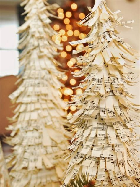 6 christmas decorations made from sheet music craft gossip