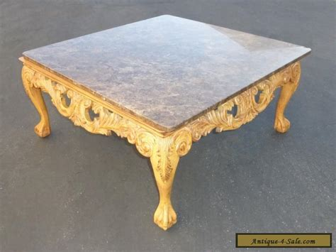 Marble Top Coffee Table For Sale Beautiful Vintage Ornate Carved Wood Cocktail Coffee Table Marble Top For Sale In United