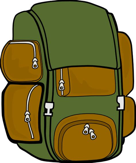 Back Pack Clipart backpack green brown clip at clker vector clip