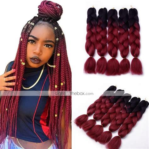 color braiding hair box braids ombre braiding hair synthetic hair 5pcs jumbo