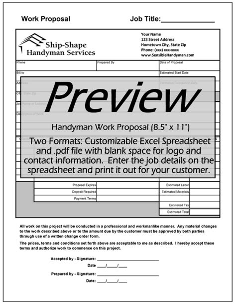 Work Proposal Form Free Learn The Truth About Work Proposal Handyman Estimate Forms Templates