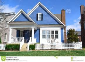 Blue Cape Cod - blue cape cod style dream home stock image image 23771443