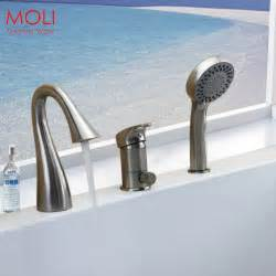 Deck Mounted Tub Faucet With Hand Shower Deck Mounted 3 Pieces Bathtub Faucet Nickel Brushed Roman