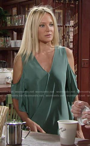 Sharhorn Green Blouse collins fashion on the and the restless page 2 wornontv net