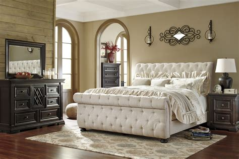 king upholstered bedroom sets willenburg linen king upholstered sleigh bed b643 78 76