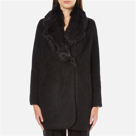 Breasted Faux Fur Coat paisie s breasted coat with faux fur collar