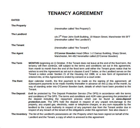 tenancy agreement template tenancy rental agreement form