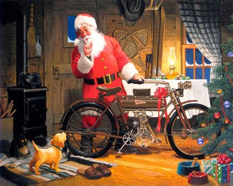 motoblogn tom newsom motorcycle santa art santa art santa claus pictures vintage santa claus