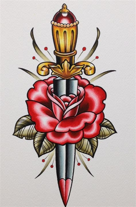 dagger through rose tattoo 35 knife and dagger designs