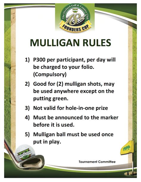Free Mulligan Card Template by Mulligan The Orchard Golf Country Club