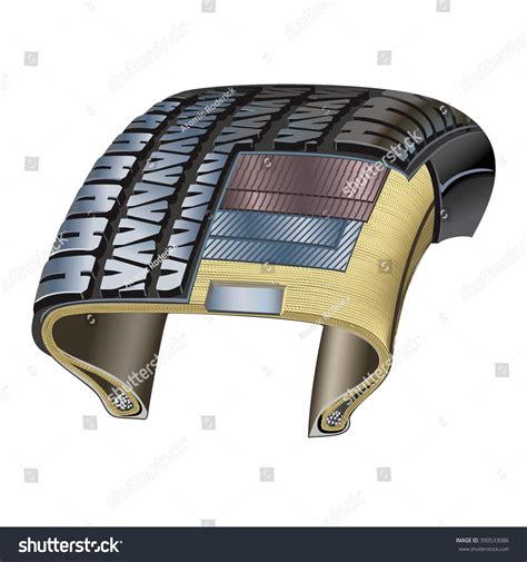 cross section of a tire tire crosssection showing various layers used stock