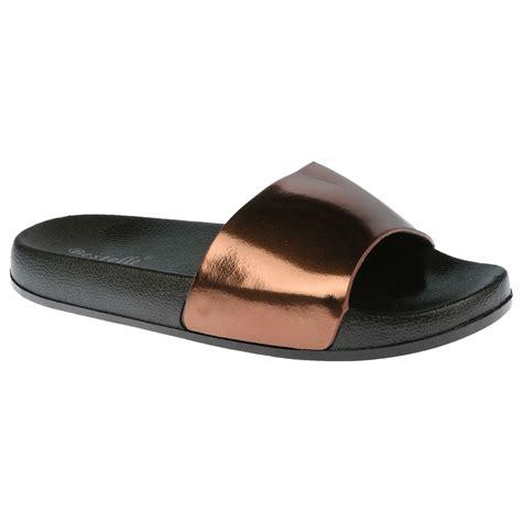 slip on slippers for peggy womens flats slip ons metallic sliders sandals