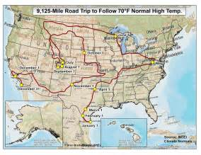 usa road map with mileage road trip across the u s where temperature is 70 degrees
