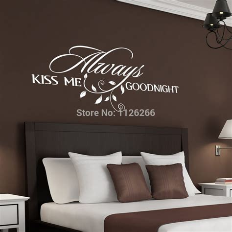 Decorative Decals For Home Always Kiss Me Goodnight Loving Art Wall Decal Removable