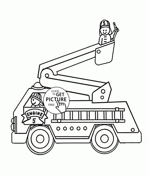 fire engine truck coloring page for kids transportation