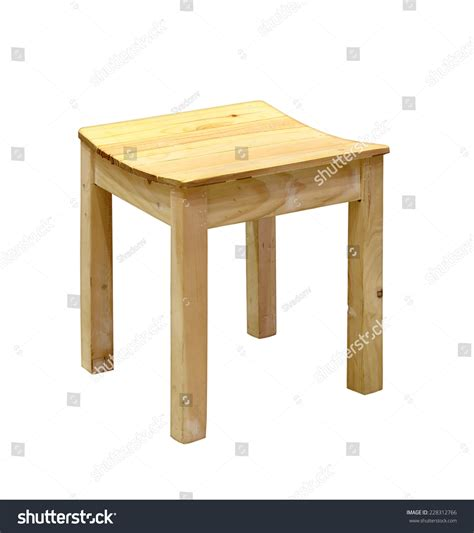 small wooden stool isolated on white stock photo 228312766