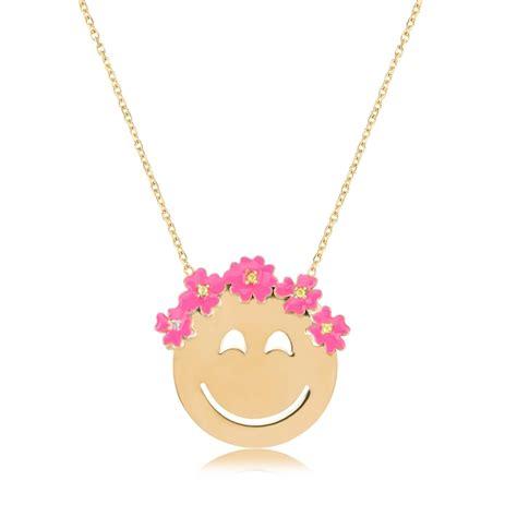 emoji jewelry ingenious gold emoji necklace with flowers ingenious