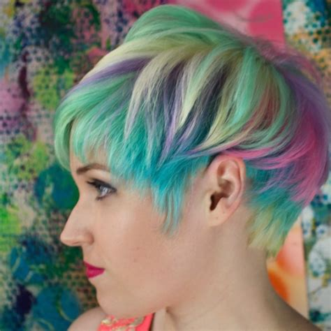 colorful short hair styles sand art multi tone hair colors best hair color trends