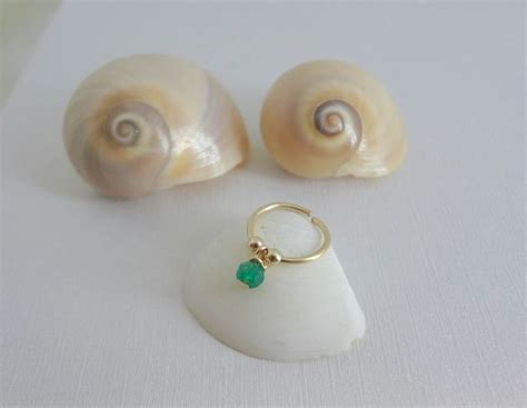 emerald nose ring goldfilled sterling silver tiny