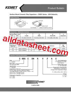 kemet capacitor datasheet c0201c103k4pac datasheet pdf kemet corporation