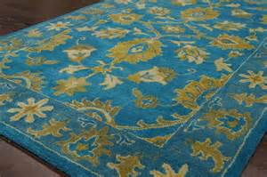 Fuschia Area Rug Traditional Yellow Fuschia Turquoise Tufted Area Rug Wool Ebay