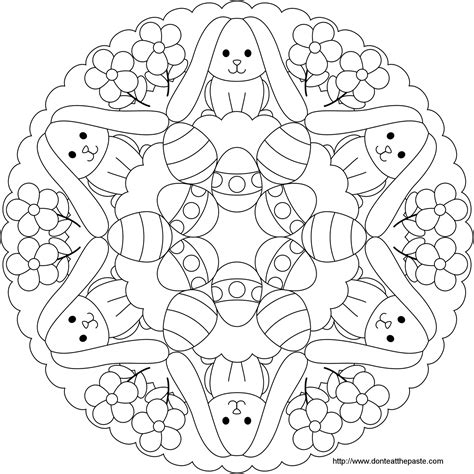 Easter Mandala Coloring Page | don t eat the paste easter bunny and egg mandala to color