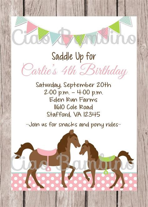 printable birthday invitations horse theme printable horse birthday party invitation pony