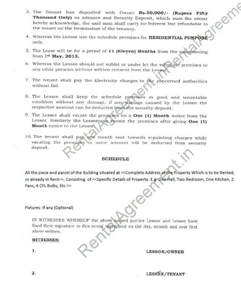 rent agreement template india rental agreement format agreement affidavit rental