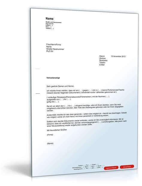 Musterschreiben Für Kündigung Wegen Eigenbedarf Verlustanzeige Dokumente Muster Vorlage Zum