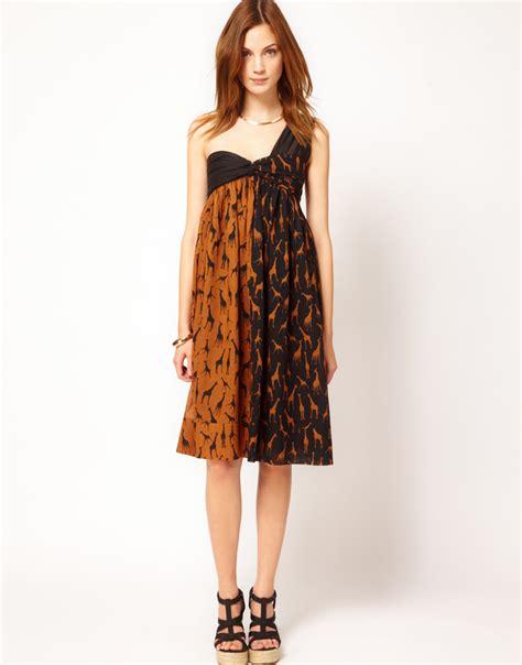 Dress Giraffe m missoni giraffe print one shoulder cotton dress in brown camel lyst