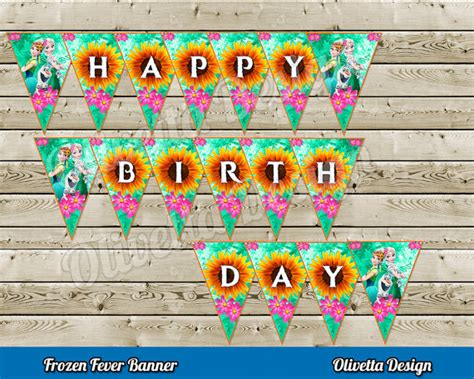 printable frozen fever banner frozen fever happy birthday banner instant download diy