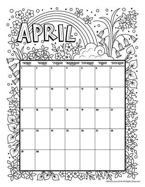 Printable Coloring Calendar for 2019 (and 2018!) | Pre-k